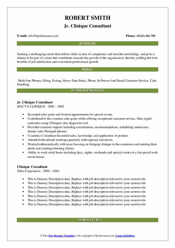 clinique consultant resume samples qwikresume pdf accounting sample word document Resume Clinique Consultant Resume