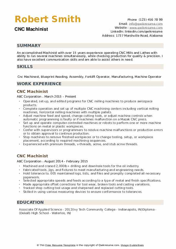cnc machinist resume samples qwikresume sample pdf description of self for experienced Resume Machinist Resume Sample