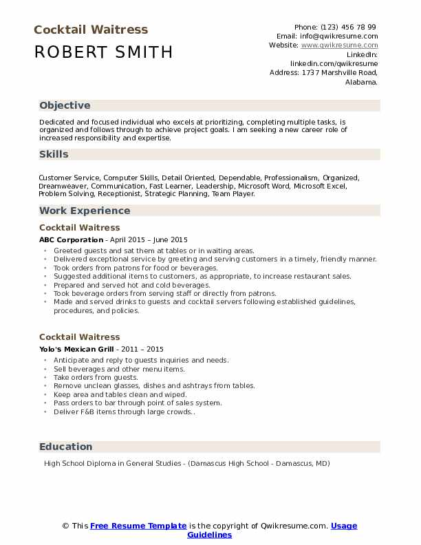 cocktail waitress resume samples qwikresume template microsoft word pdf truck driving Resume Waitress Resume Template Microsoft Word