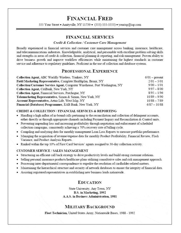 collection agent resume customer service cover letter for objective examples sample Resume Collection Agent Resume Sample