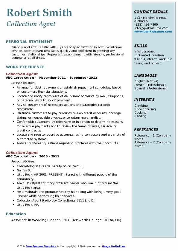 collection agent resume samples qwikresume sample pdf awesome examples hotel housekeeping Resume Collection Agent Resume Sample