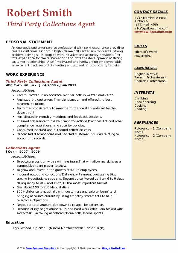 collections agent resume samples qwikresume collection sample pdf tender executive Resume Collection Agent Resume Sample