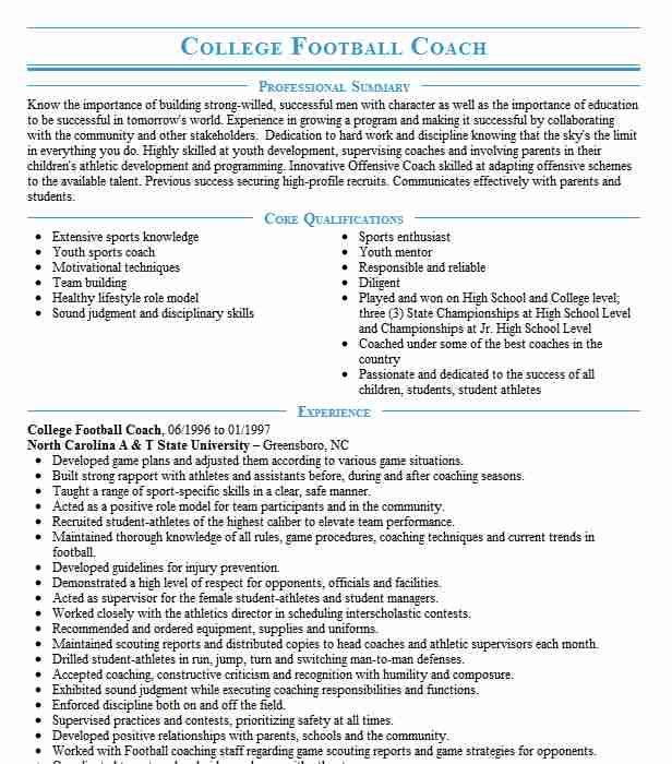 college football coach resume example resumes livecareer coaching template payment poster Resume Coaching Resume Template