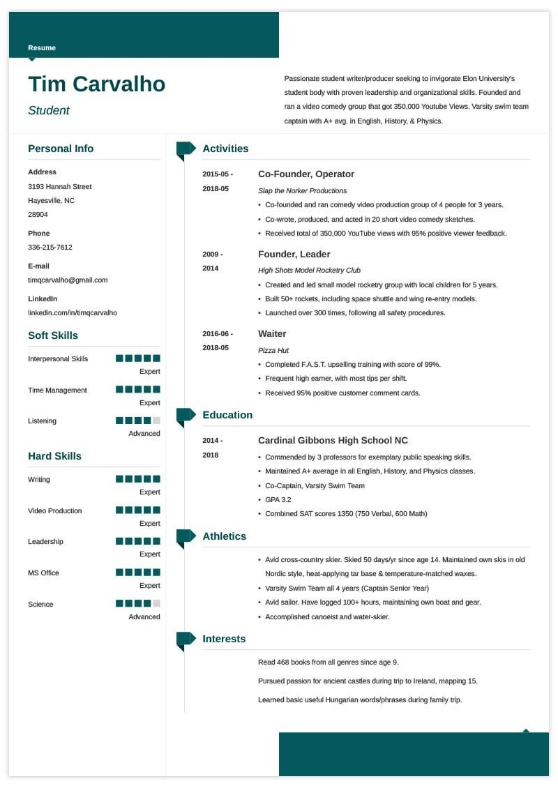 college resume template for high school students entering sample applications scada Resume Resume For Entering College