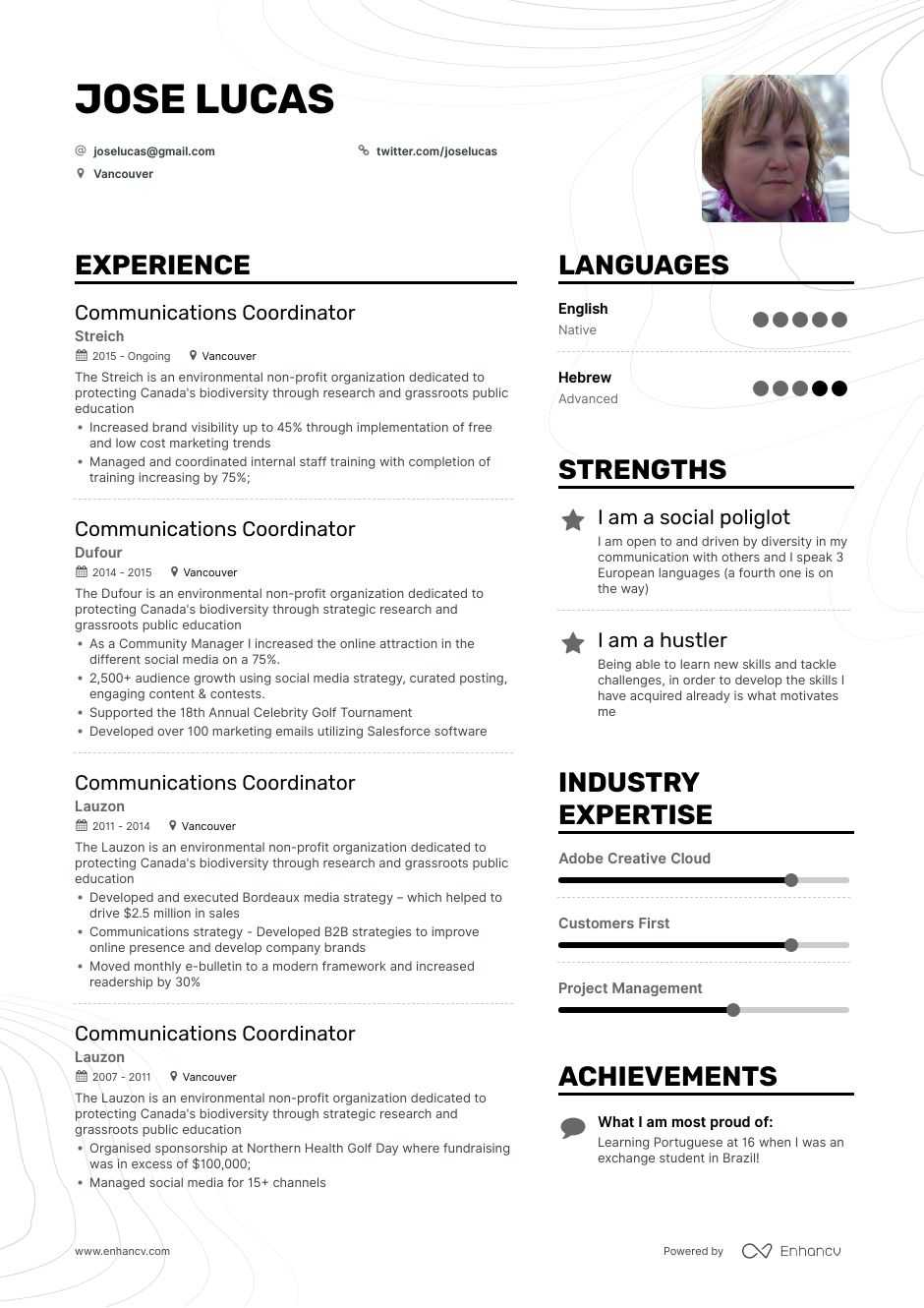 communications coordinator resume example for enhancv communication examples quality Resume Communication Resume Examples
