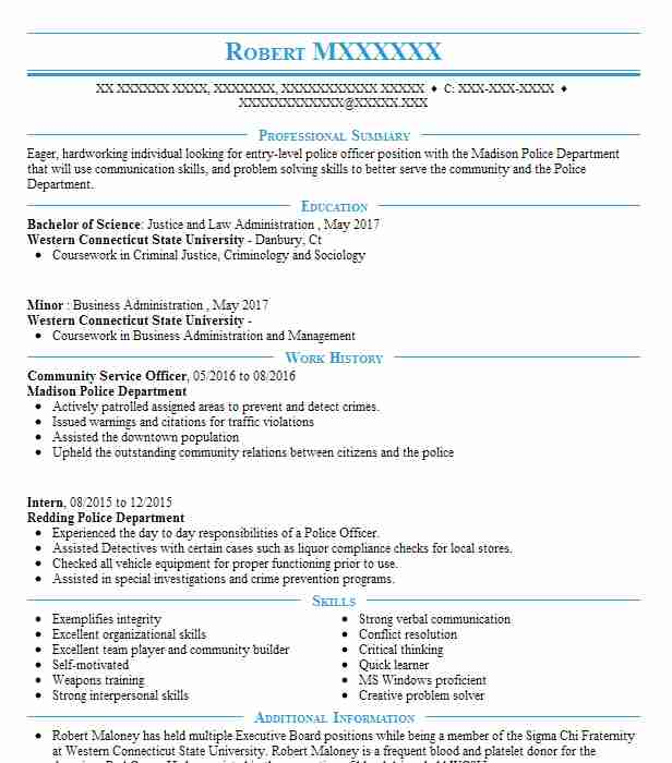 community service officer resume example resumes misc livecareer for fresh graduate Resume Community Service Resume