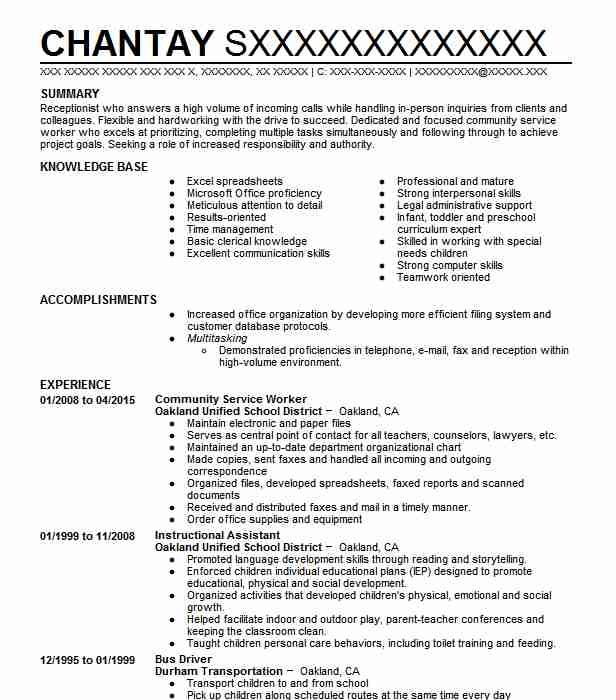 community service worker resume example resumes livecareer chronological automotive shop Resume Community Service Resume