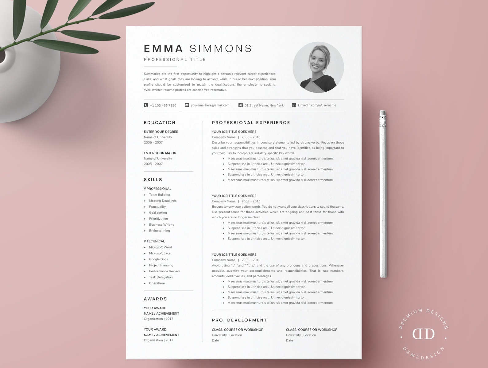 compact one resume template kit by templates on dribbble onepageresumetemplate2 updating Resume One Page Resume Template