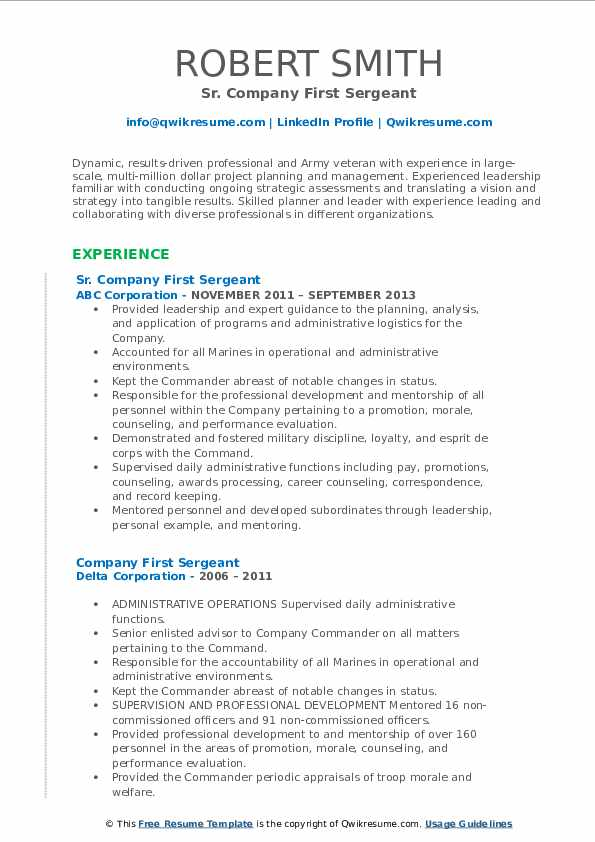 company first sergeant resume samples qwikresume army pdf generic summary manufacturing Resume Army First Sergeant Resume