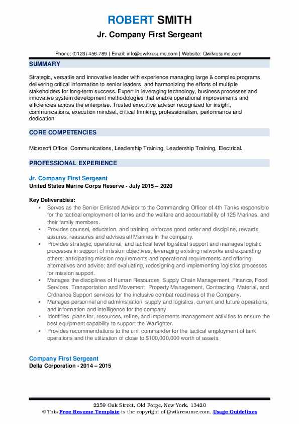 company first sergeant resume samples qwikresume army pdf leadership examples dental Resume Army First Sergeant Resume