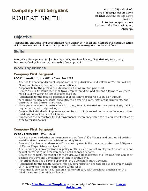 company first sergeant resume samples qwikresume army pdf leadership examples email for Resume Army First Sergeant Resume