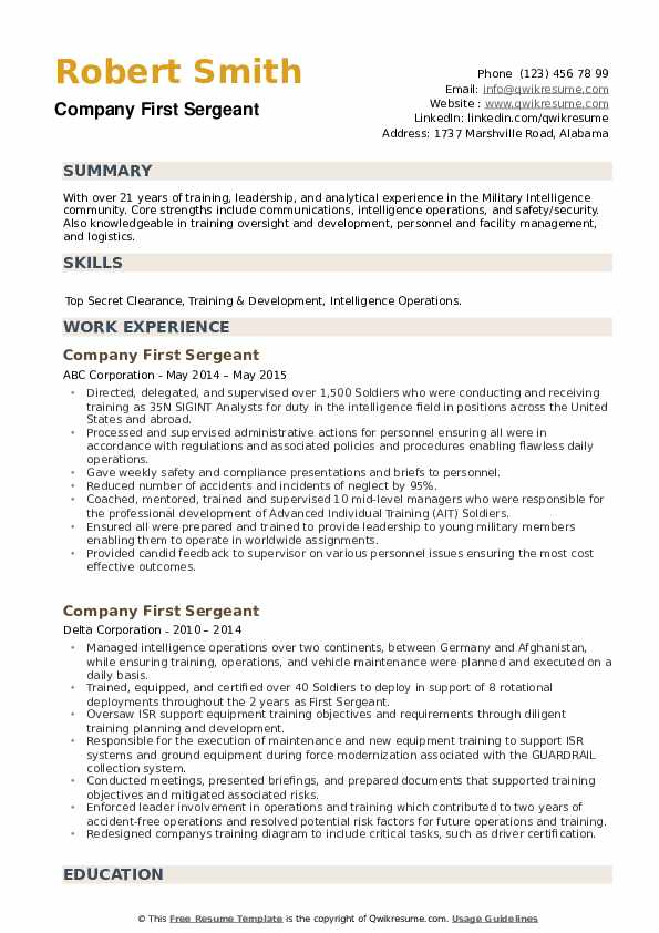 company first sergeant resume samples qwikresume army pdf manufacturing engineer rotimi Resume Army First Sergeant Resume
