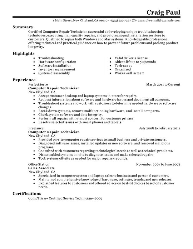 computer repair technician resume examples created by pros myperfectresume electronic Resume Electronic Technician Resume Template
