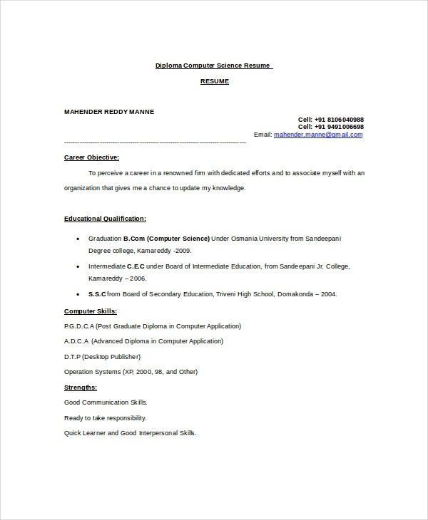 computer science resume example free word pdf documents premium templates fresher diploma Resume Resume Computer Science Fresher
