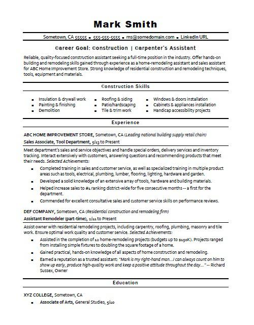 construction carpenter assistant resume sample monster home professional photography Resume Home Construction Resume