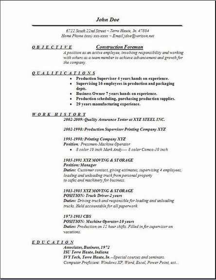 construction foreman resume objective sample statement examples template for nanny Resume Foreman Resume Template
