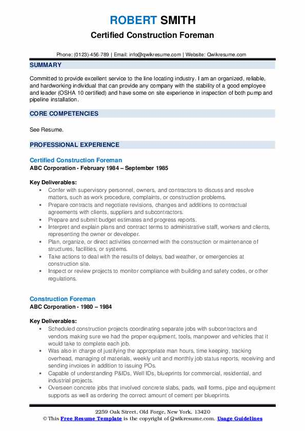 construction foreman resume samples qwikresume template pdf gas station assistant manager Resume Foreman Resume Template