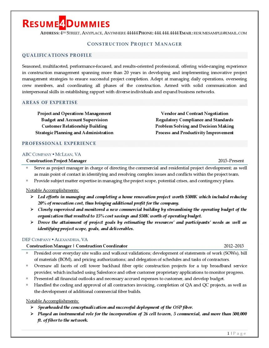 construction project manager resume resume4dummies examples writing services chicago Resume Manager Resume Examples 2020