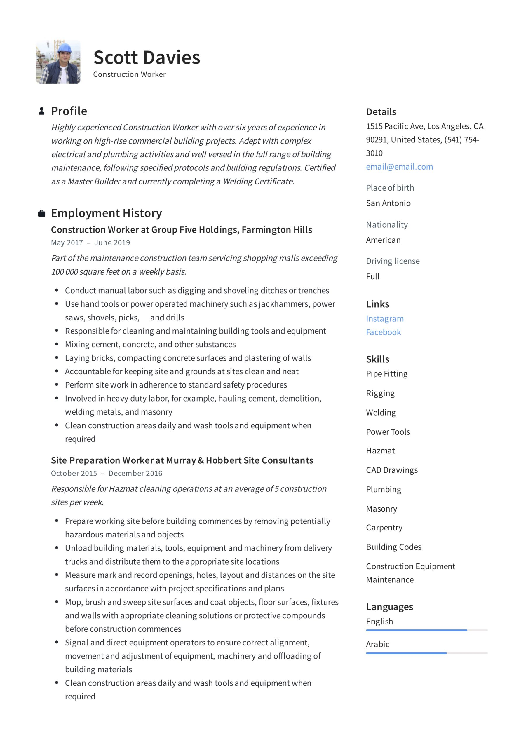 construction worker resume writing guide templates certificates and licenses on sample Resume Certificates And Licenses On Resume