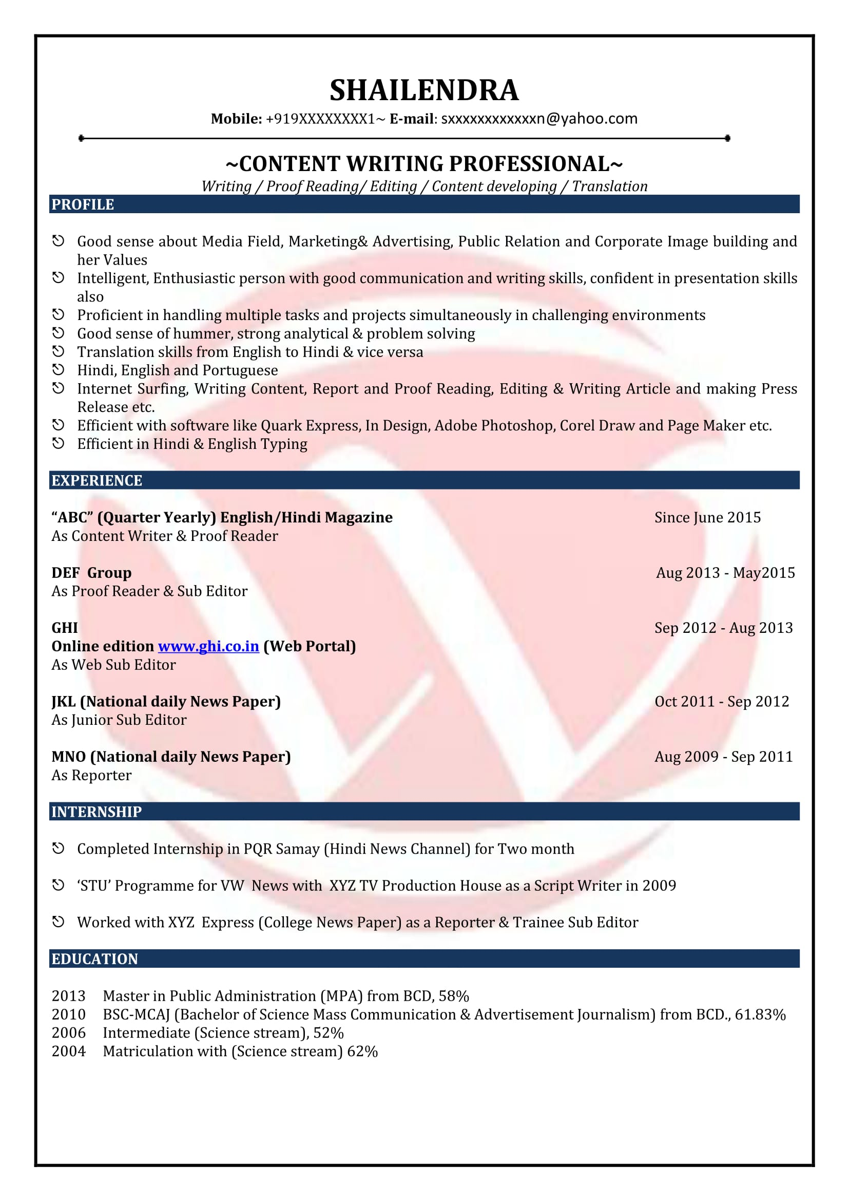 content writer sample resumes resume format templates marketing piping supervisor high Resume Marketing Content Writer Resume