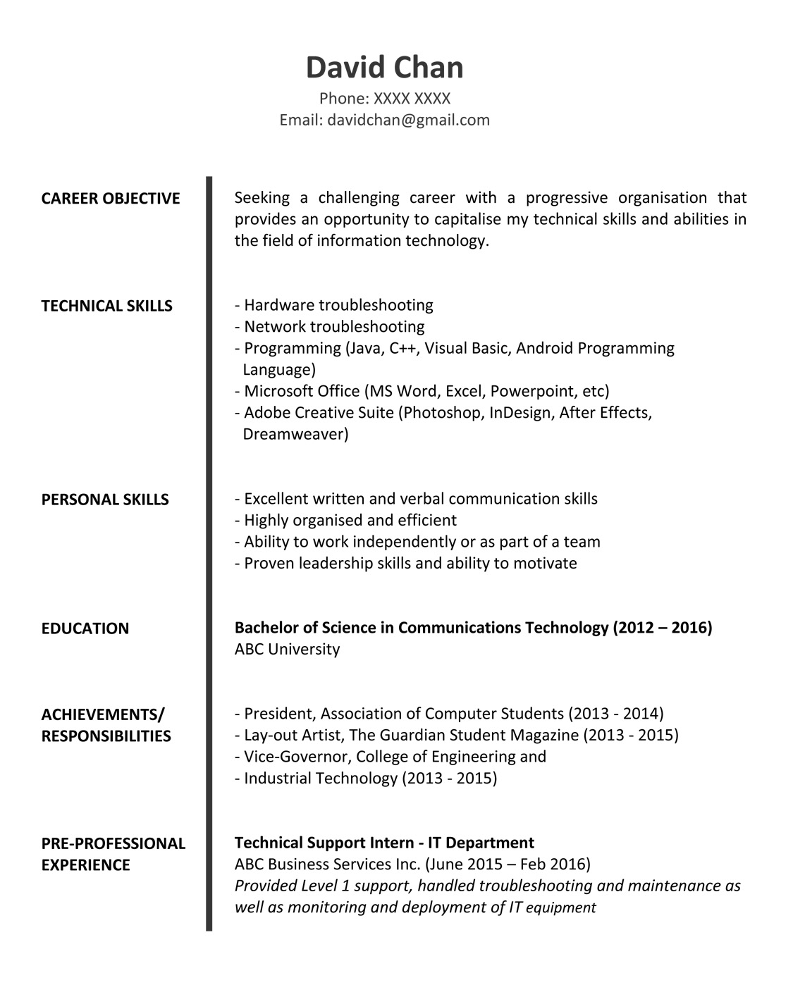 contos dunne communications application letter of fresh graduate best resume for fg 1p Resume Best Resume For Fresh Graduate