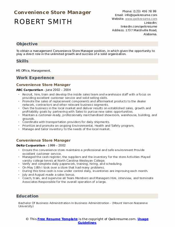convenience store manager resume samples qwikresume sample objectives for retail Resume Sample Resume Objectives For Retail Management