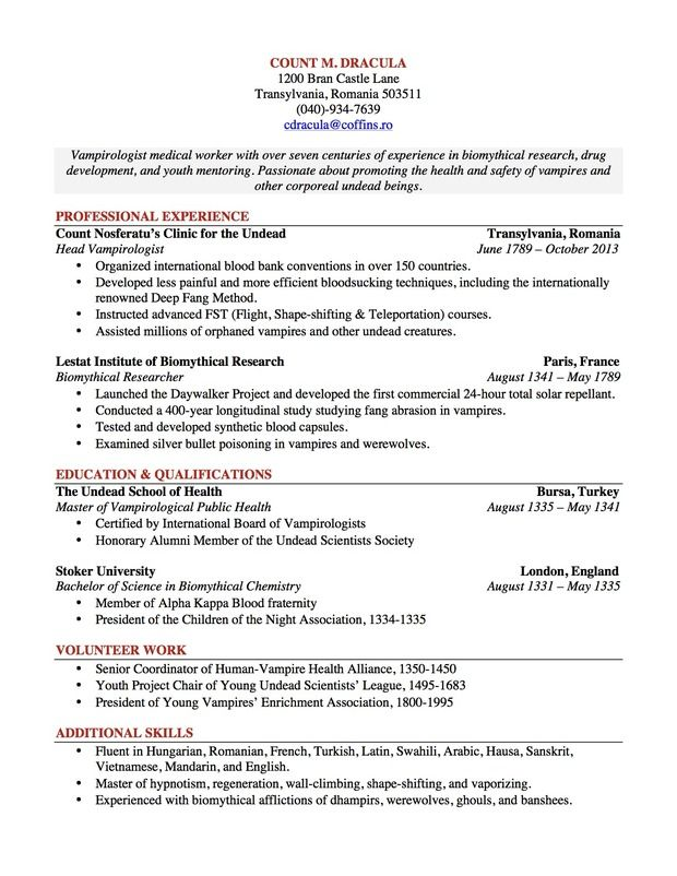 count dracula resume by leah osae of university north carolina at chapel free builder Resume Full Documentation Of Resume Builder Project