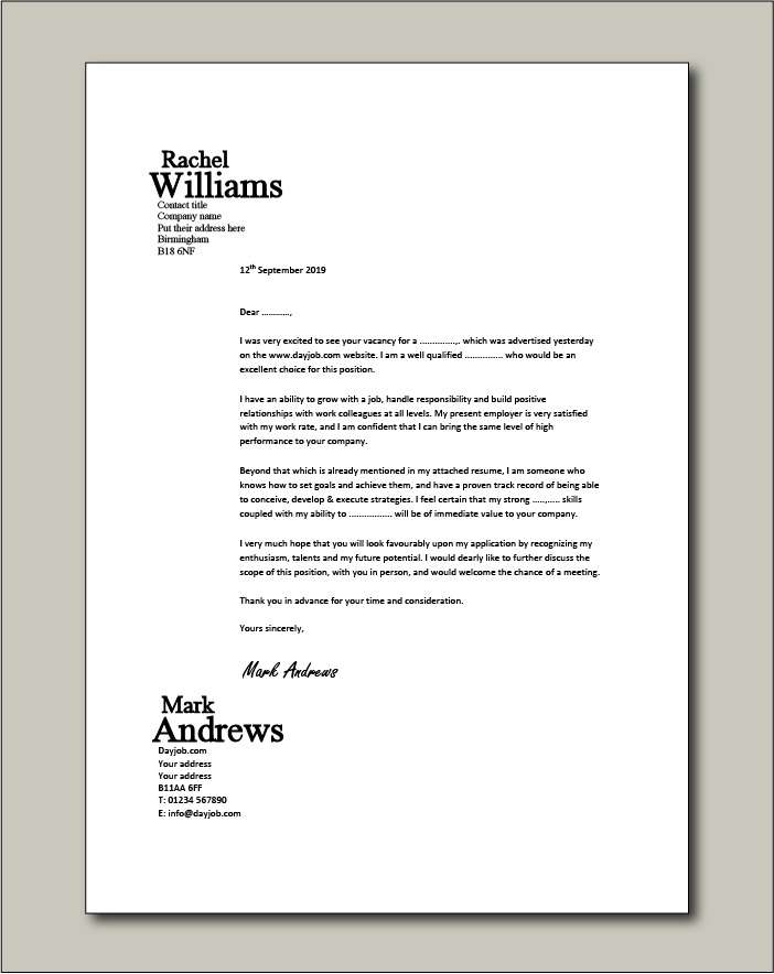 cover letter examples for different job roles in dayjob free sample resume example Resume Free Sample Cover Letter For Resume