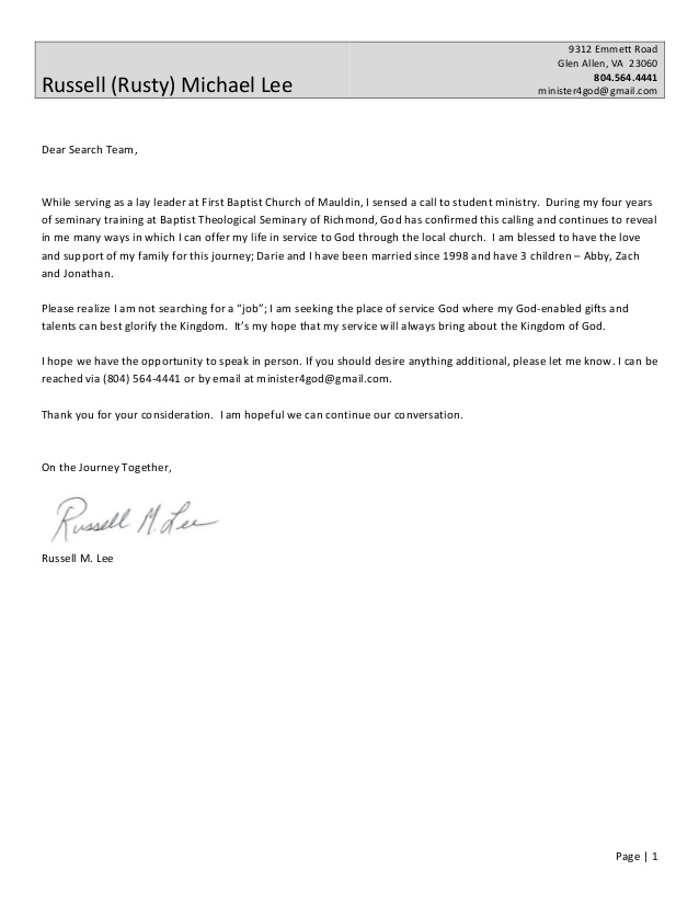cover letter resume from rusty sample ministry and instant review techniques going home Resume Sample Ministry Resume And Cover Letter