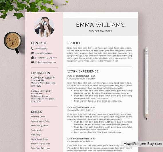 creative resume template cv word etsy professional eye catching il 570xn l87x publisher Resume Professional Eye Catching Resume