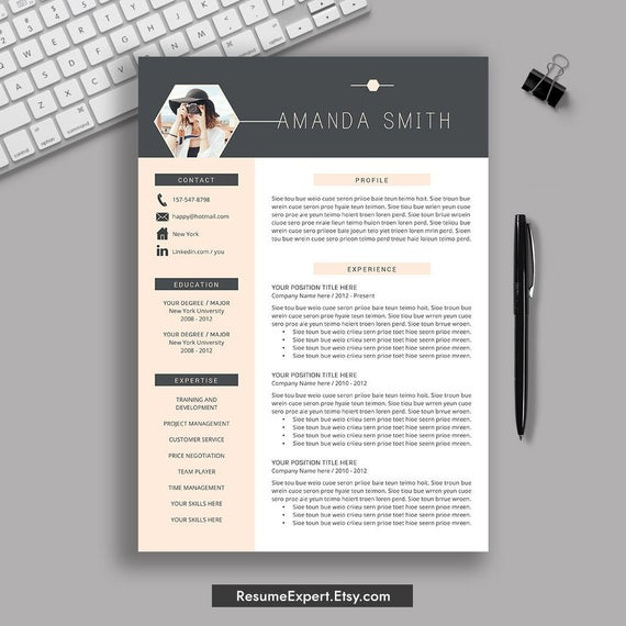 creative resume template word cv cover etsy templates il 570xn 8own for someone without Resume Resume Templates 2020 Word