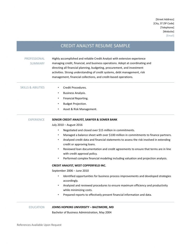 credit analyst resume samples tips and templates by builders medium senior cost Resume Senior Cost Analyst Resume