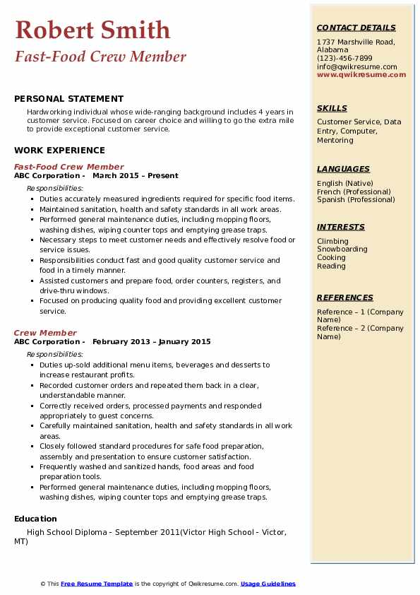 crew member resume samples qwikresume fast food job description for pdf skills financial Resume Fast Food Crew Member Job Description For Resume