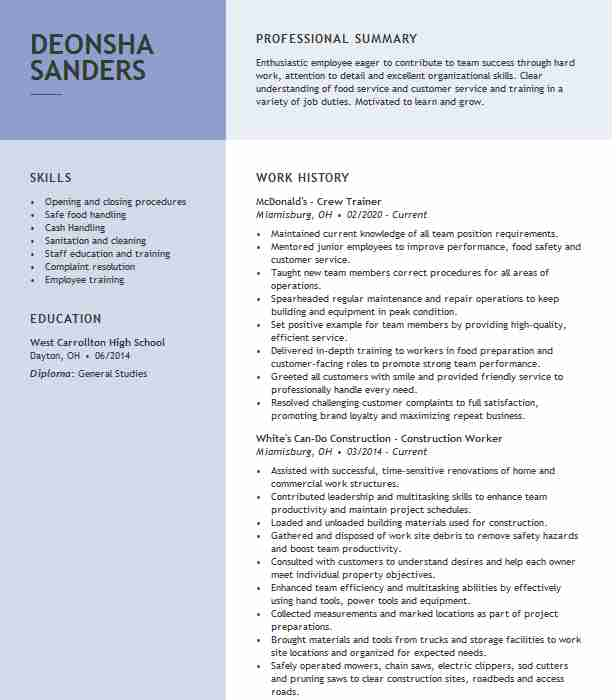 crew trainer resume example llc mcdonalds layout for college student public health Resume Mcdonalds Crew Trainer Resume