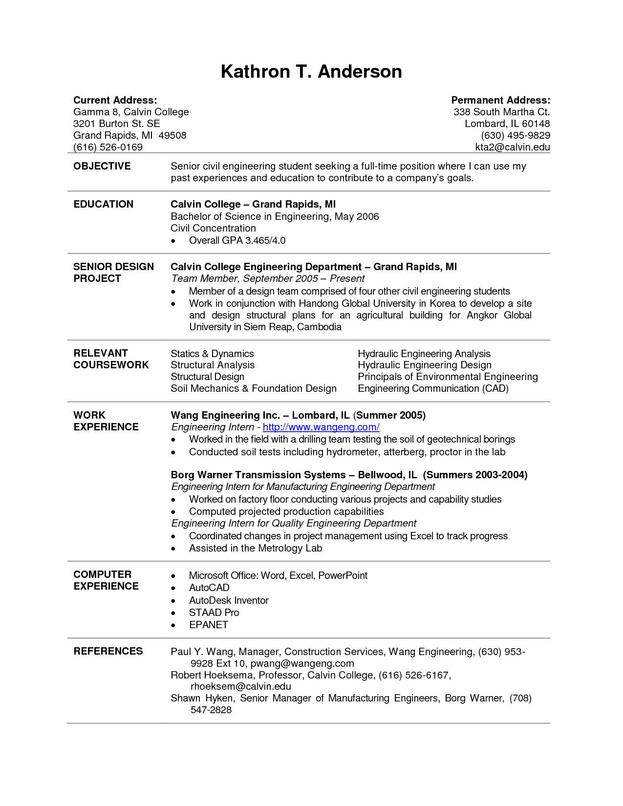 current college student resume template examples playing music civil engineering profile Resume Current College Student Resume