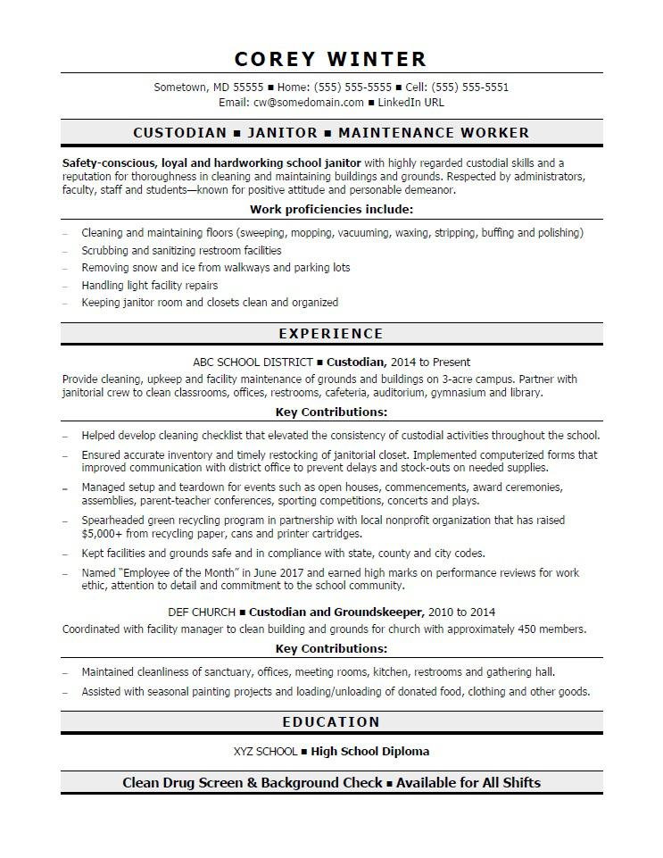 custodian resume sample monster facility maintenance draftsperson for office assistant Resume Facility Maintenance Resume