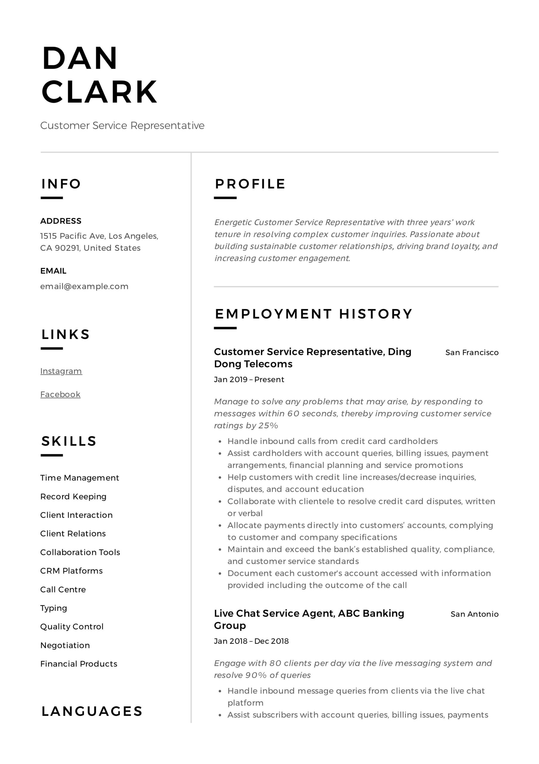 customer service representative resume sample in examples cover letter writing services Resume Customer Service Resume Examples 2020