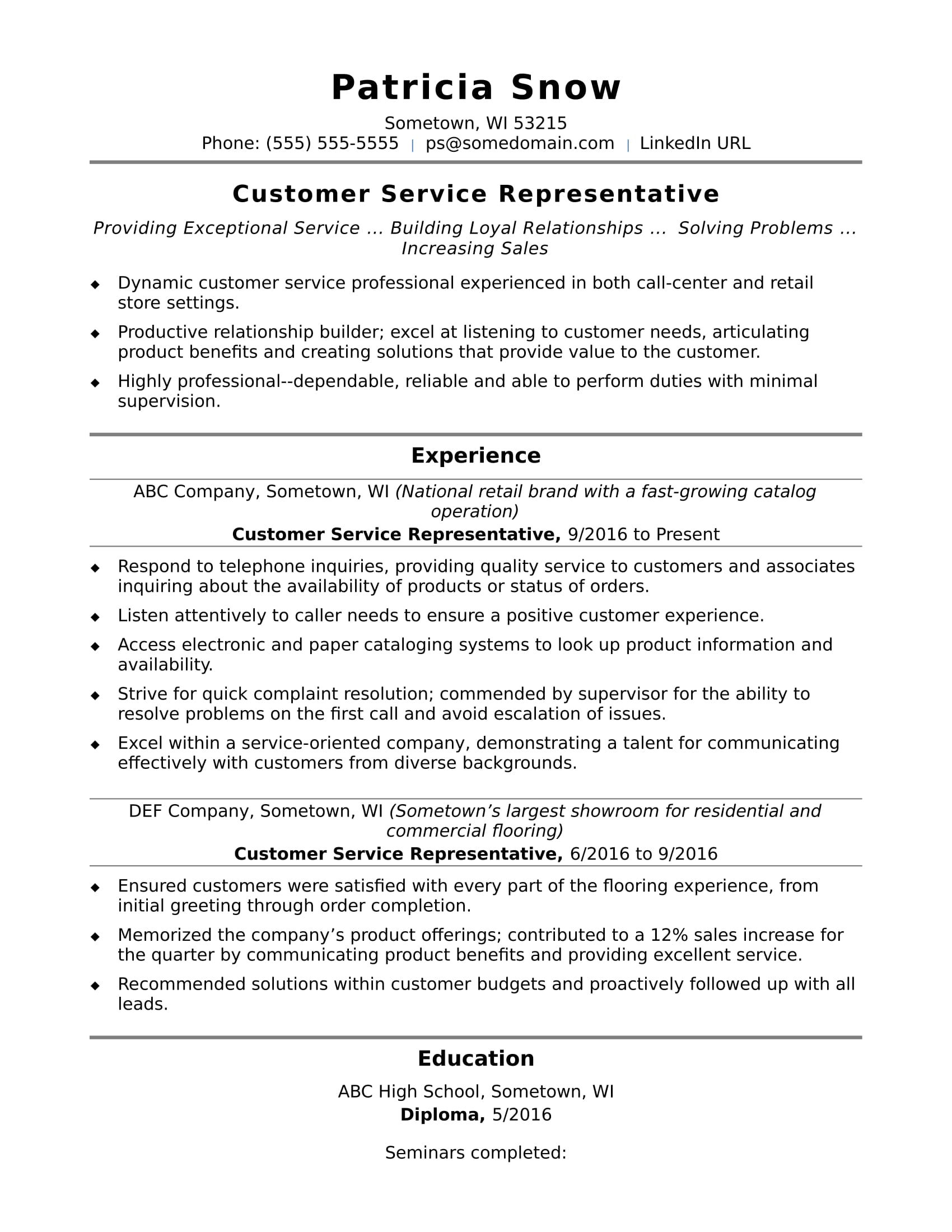 customer service representative resume sample monster good summary for entry level social Resume Good Customer Service Summary For Resume