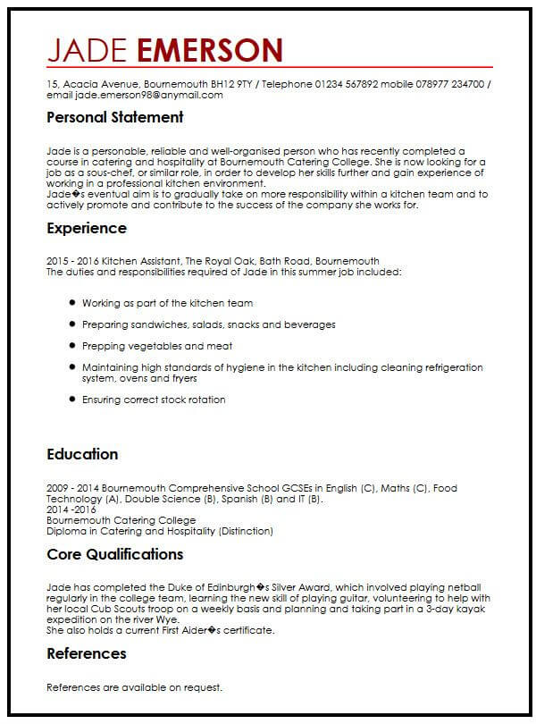 cv example for teenagers myperfectcv resume examples teenager first job high school Resume Resume Examples For Teenager First Job