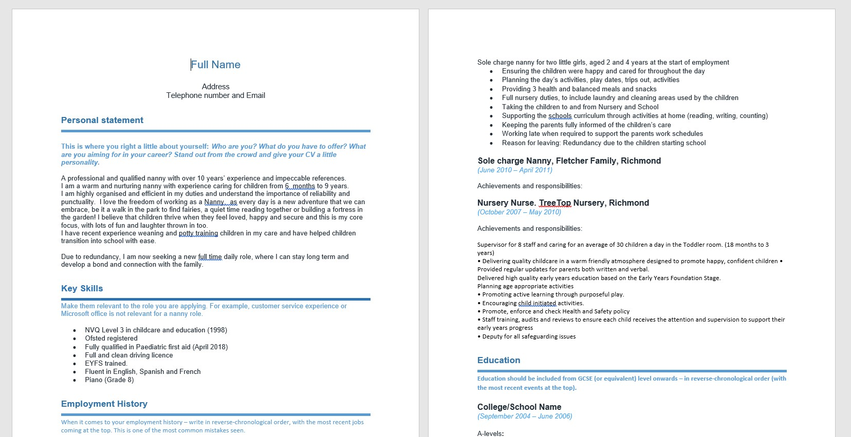 cv for nannies made easy our handy nanny template absolute childcare description on Resume Description For Nanny On Resume