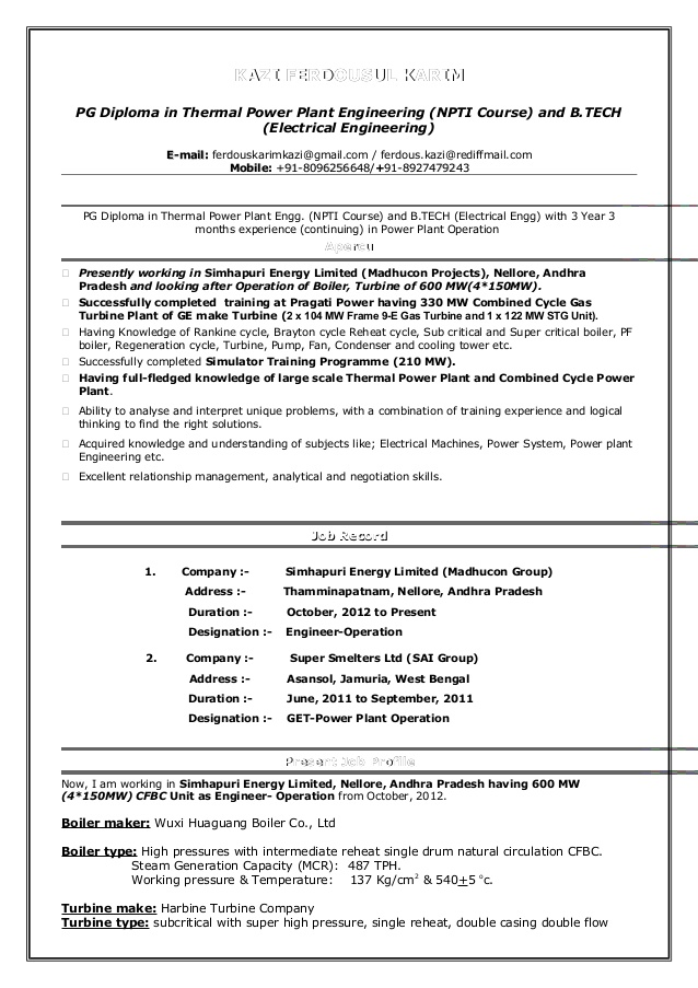 cv of karim operation engineer super resume company limited vcard template types writing Resume Super Resume Company Limited
