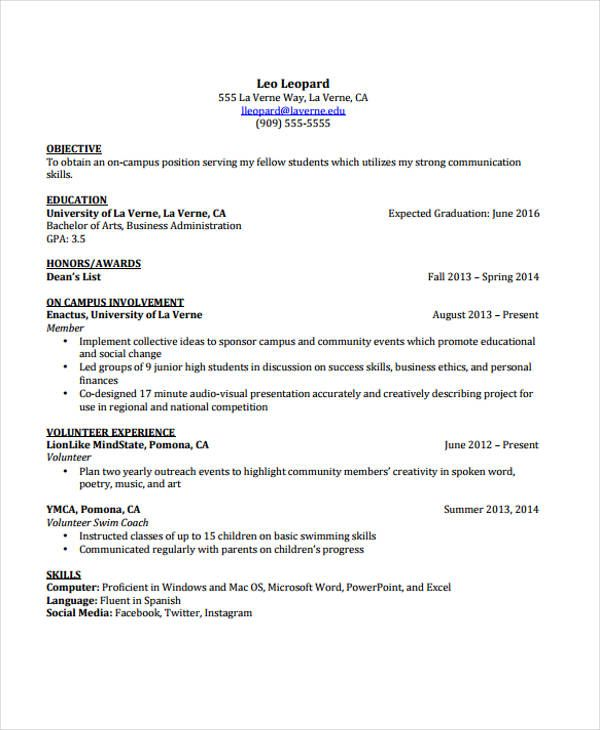 cv template student resume format university word county clerk brief summary of your Resume University Student Resume Template Word