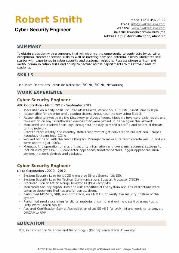 cyber security engineer resume samples qwikresume sample for pdf on the job training Resume Sample Resume For Cyber Security