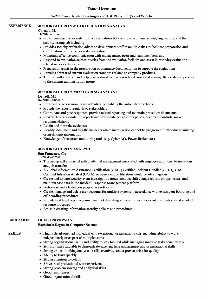 cyber security entry level resume fresh junior analyst samples marketing perasaan Resume Junior Cyber Security Analyst Resume