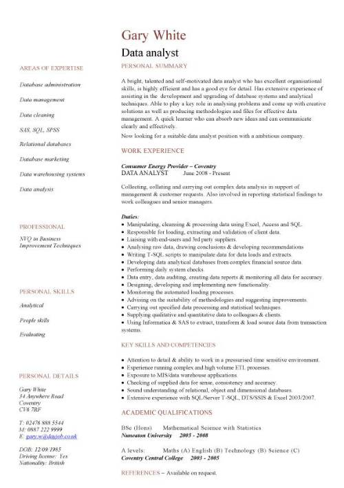 data analyst cv sample experience of analysis and migration writing resume skills for pic Resume Resume Skills For Data Analyst