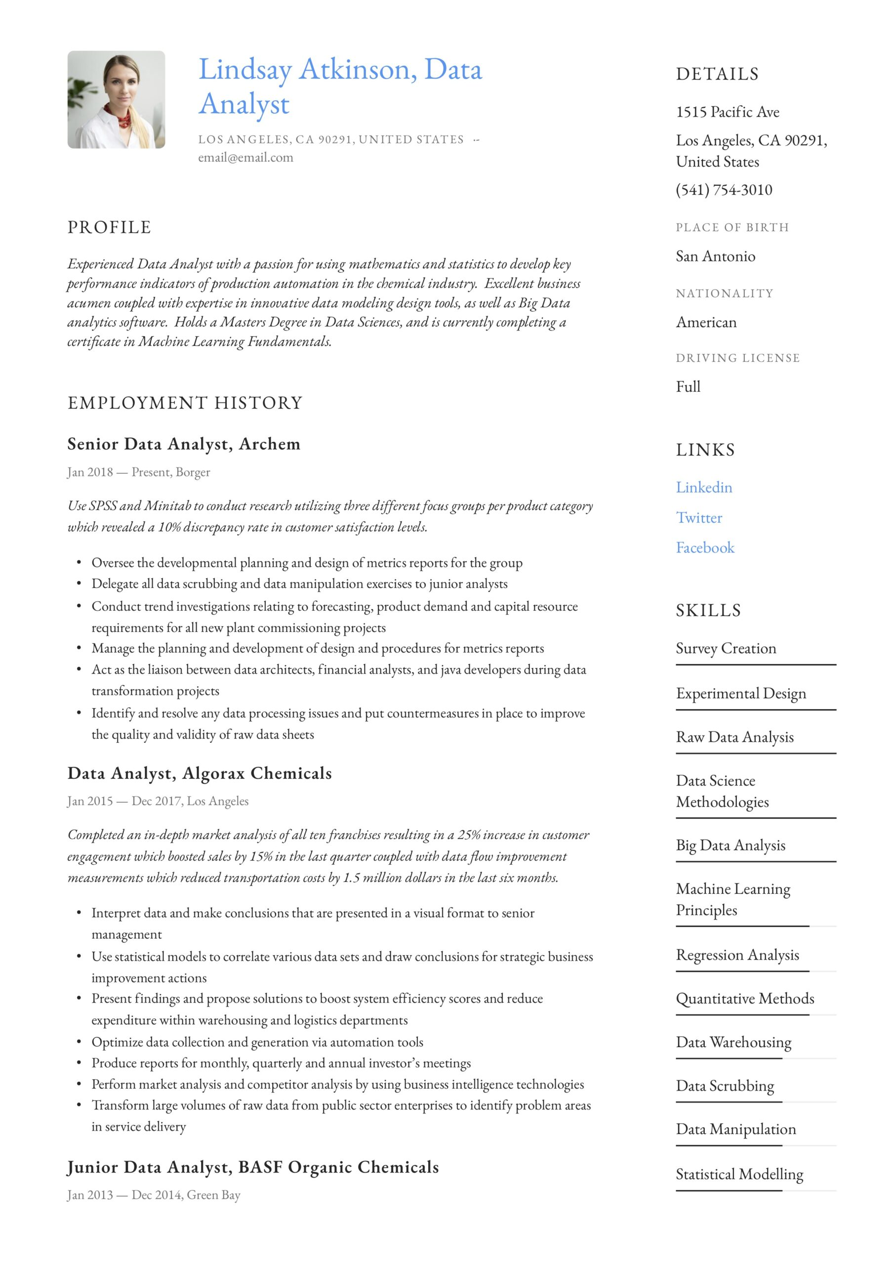 data analyst resume writing guide examples word pdf analysis example administrative Resume Data Analysis Resume Example