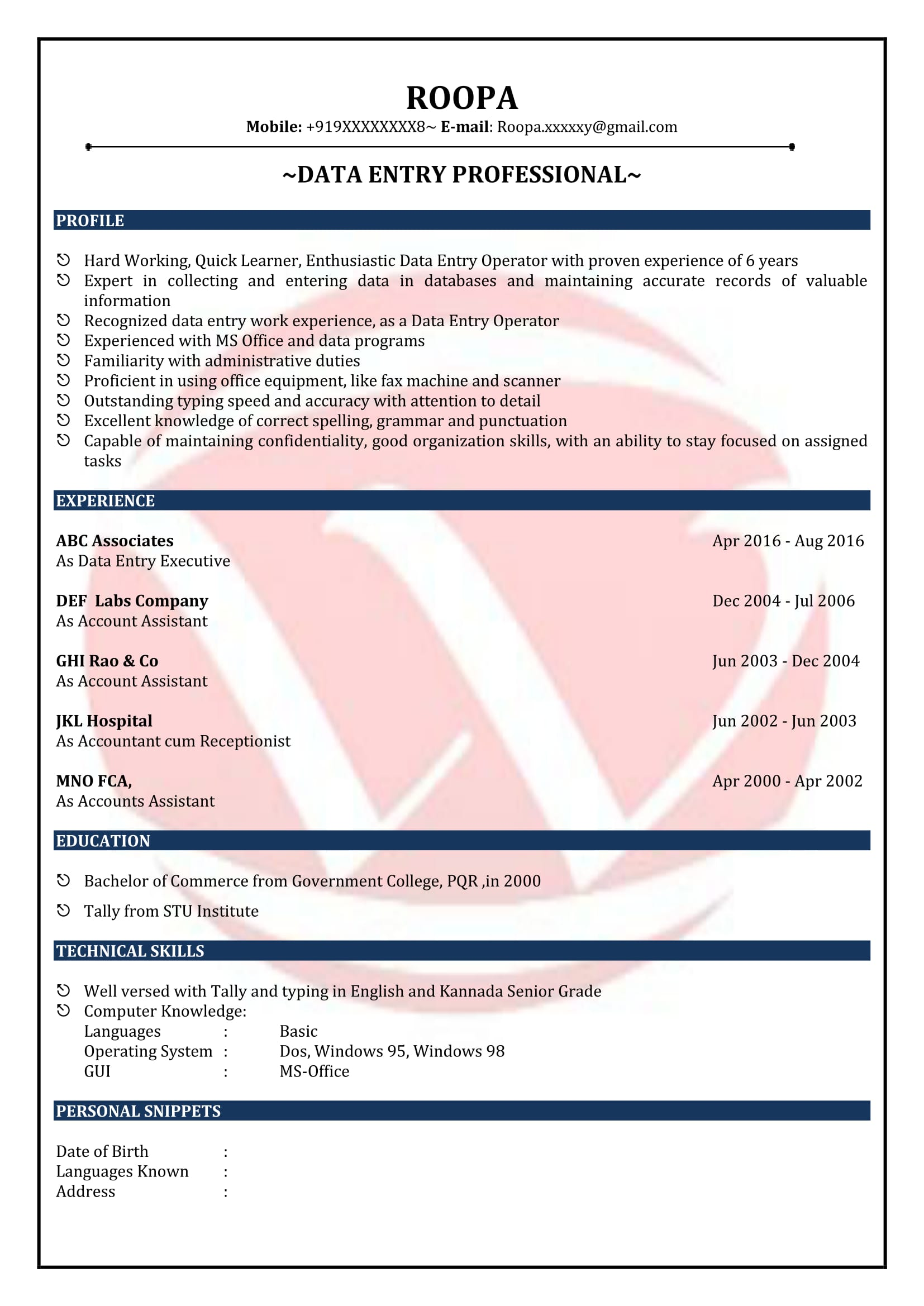 data entry sample resumes resume format templates for fresher leadership position Resume Sample Resume For Data Entry Fresher