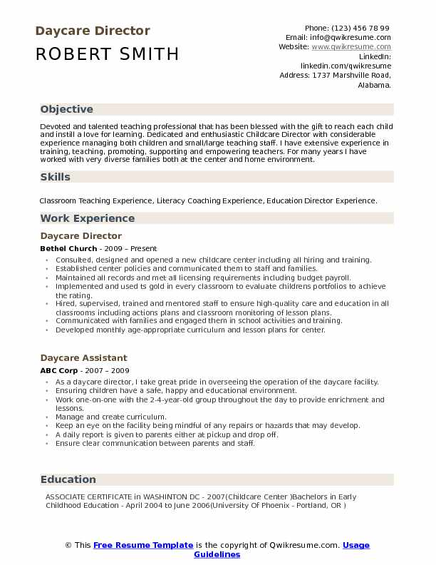 daycare director resume samples qwikresume child care pdf word member service Resume Child Care Director Resume