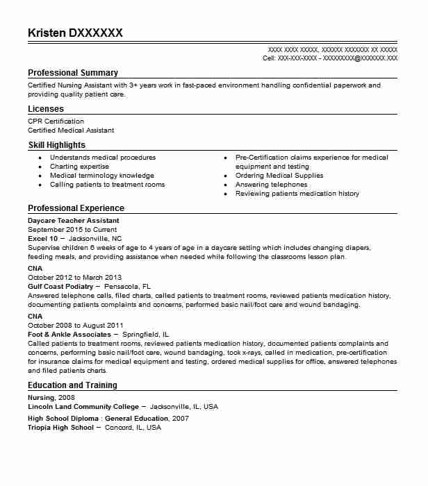 daycare teacher assistant resume example livecareer objective for strategy consultant Resume Objective For Resume For Teacher Assistant