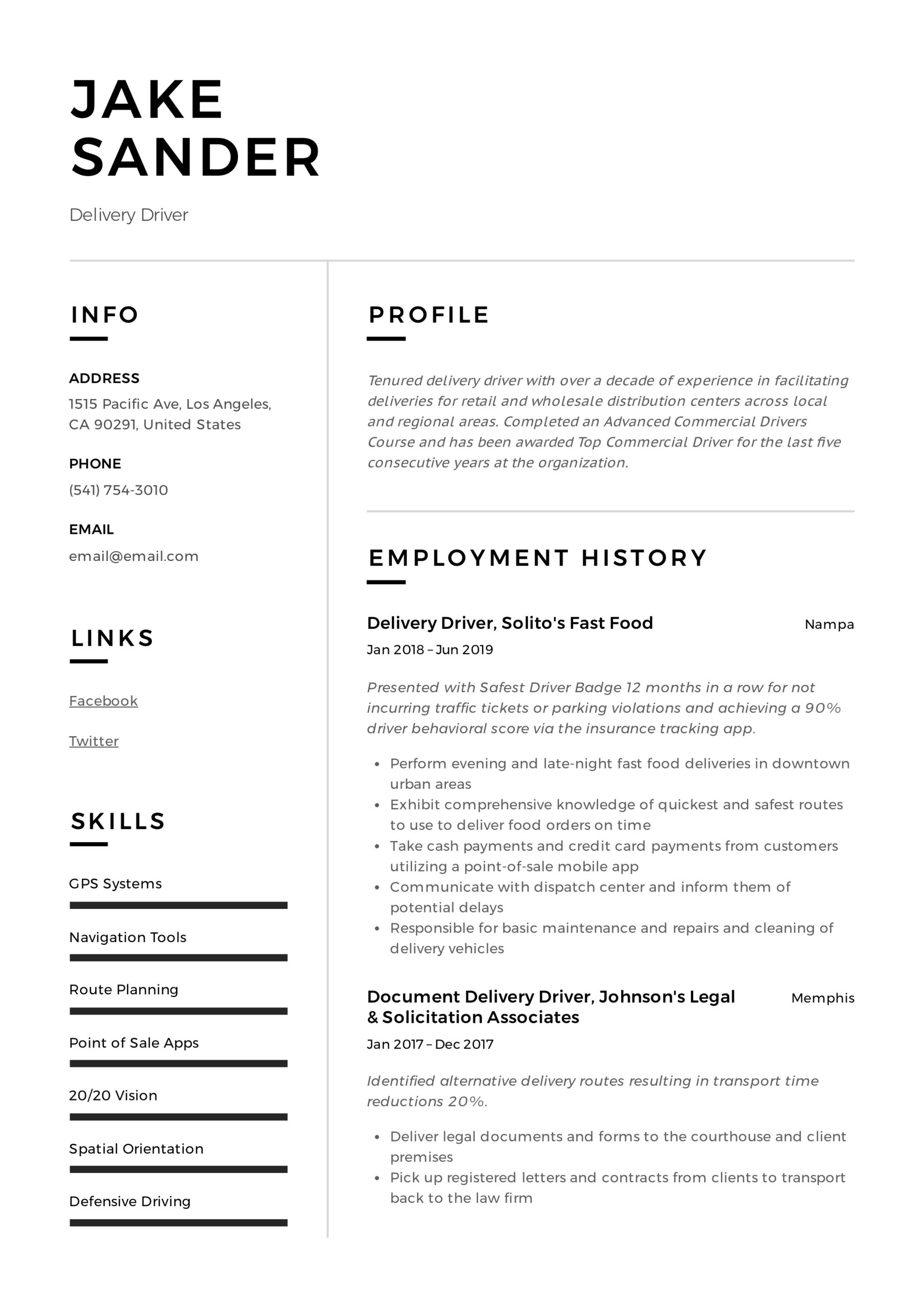 delivery driver resume writing guide examples fedex example font pairing for high school Resume Fedex Driver Resume Example